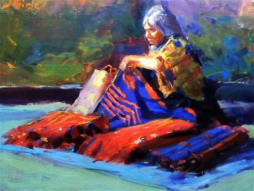 """""""selling blankets"""" original fine art by Richard Schiele"""