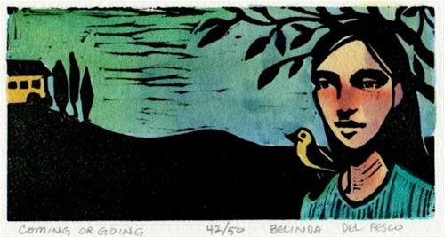 """""""Linocut: Coming or Going"""" original fine art by Belinda Del Pesco"""