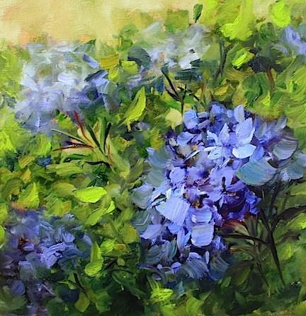 """""""A Video Launch, Blue Garden Hydrangeas - Flower Paintings by Nancy"""" original fine art by Nancy Medina"""