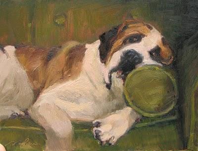 """""""Alfie on Avocado"""" original fine art by V.... Vaughan"""