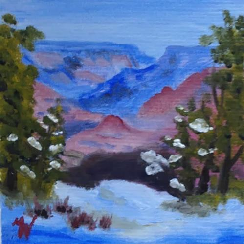 """Snowy Edge on the Canyon"" original fine art by Michelle Wolfe"