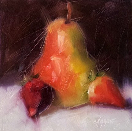 """""""Pear and Strawberries"""" original fine art by Cindy Haase"""