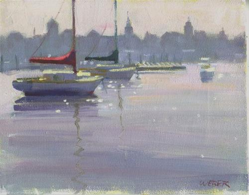 """Hazy morning on the river"" original fine art by Kathy Weber"