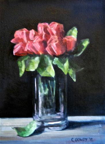 """Red Roses on Black"" original fine art by Christina Dowdy"