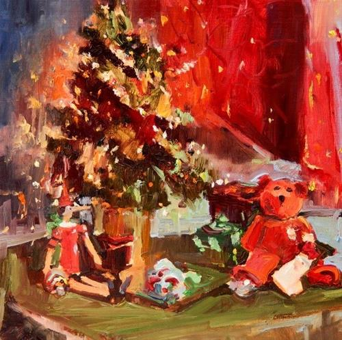 """""""Christmas Still Life  original oil painting by Robin Weiss"""" original fine art by Robin Weiss"""