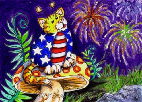 """""""Stars N' Stripes Cat A Bug"""" original fine art by Kim Loberg"""