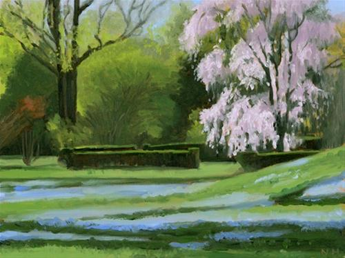 """Weeping Cherry and Veronica"" original fine art by Nancy Herman"