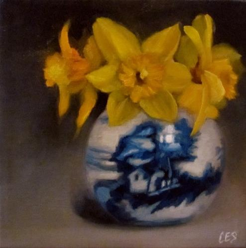 """""""Daffodils and Chinese Porcelain"""" original fine art by ~ces~ Christine E. S. Code"""