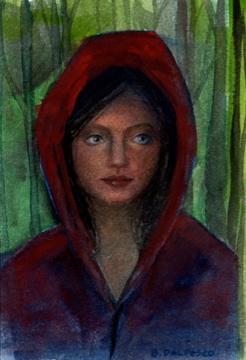 """Watercolor: Little Red (& juried into Brand40 Works on Paper Exhibit)"" original fine art by Belinda Del Pesco"