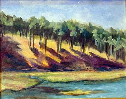 """""""Front Street Pond"""" original fine art by Maria Levandowski"""