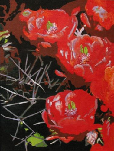 """Cactus Flower"" original fine art by Nan Johnson"
