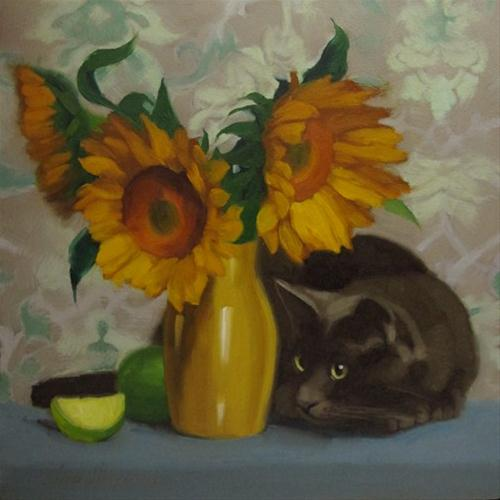 """""""Spy Cat oil painting of gray cat and sunflowers"""" original fine art by Diane Hoeptner"""