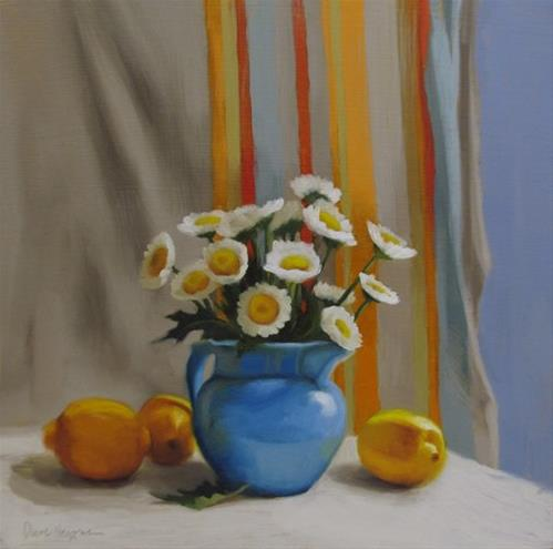 """""""Lemon Daisies II, floral still life painting with Daisies and Lemons"""" original fine art by Diane Hoeptner"""