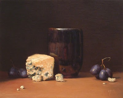 """""""Still Life with Grapes, Tea Bowl, and Bleu Cheese (larger painting)"""" original fine art by Abbey Ryan"""