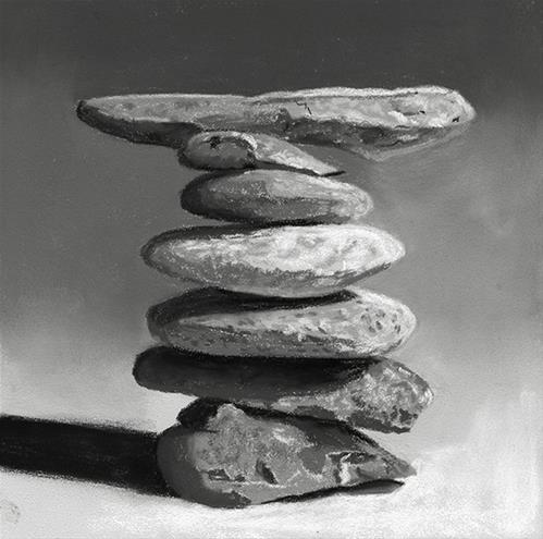 """Perfect Balance cairn painting"" original fine art by Ria Hills"
