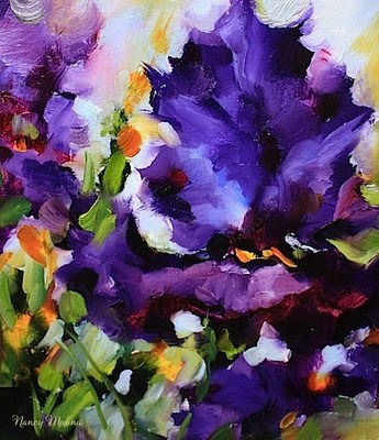 """Gold Tipped Blue Iris"" original fine art by Nancy Medina"