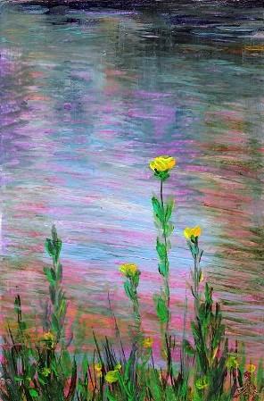 """""""3125 - Water Flowers - OSWOA DUO Series"""" original fine art by Sea Dean"""