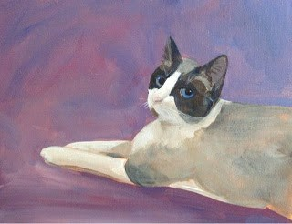"""Miss Maddie Lou, Rescue Kitty"" original fine art by Lyn Gill"