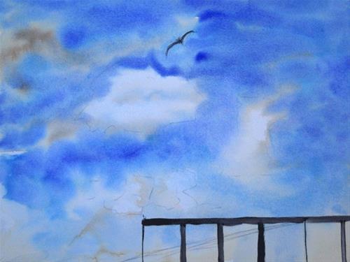 """Lone Sky Bird"" original fine art by Donna Crosby"