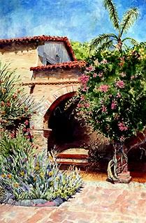 """Watercolor: Mission Bench"" original fine art by Belinda Del Pesco"