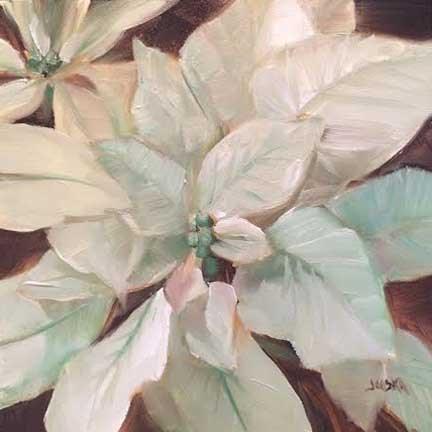 """Poinsettia in Mint"" original fine art by Elaine Juska Joseph"
