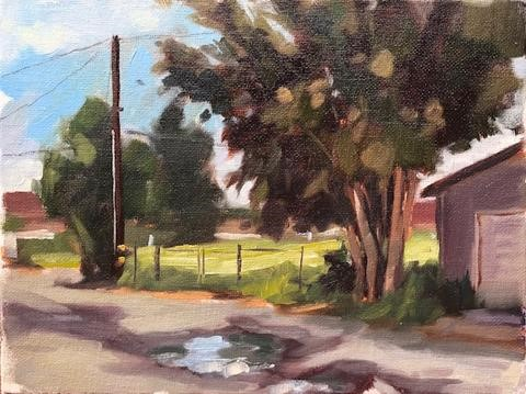 """Wet Morning, Plein Air"" original fine art by Sharon Schock"