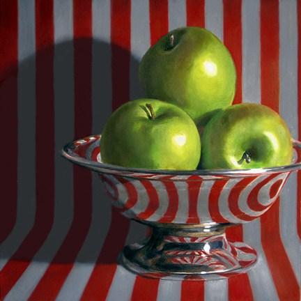 """Green Apples on Stripes"" original fine art by Nance Danforth"