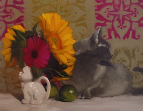 """""""Two Cats feline floral still life by Hoeptner"""" original fine art by Diane Hoeptner"""