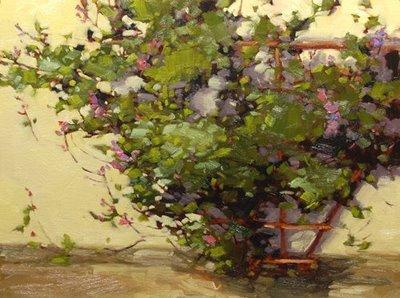 """Spring in my backyard"" original fine art by Laurel Daniel"