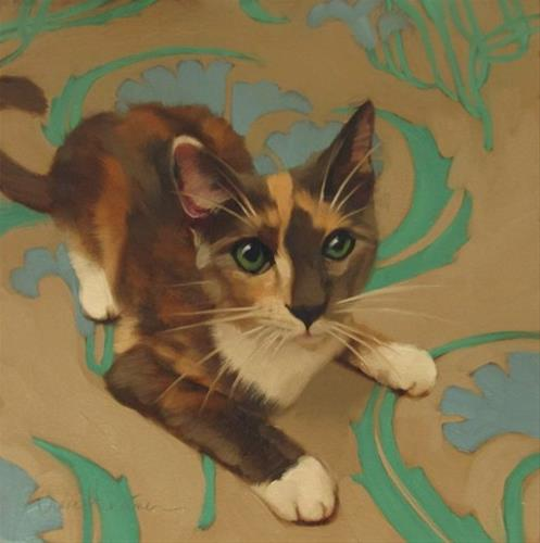"""Harlequin painting of a diluted Calico"" original fine art by Diane Hoeptner"