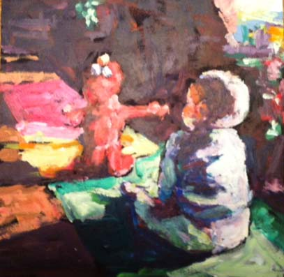 """watching elmo"" original fine art by Shelley Garries"