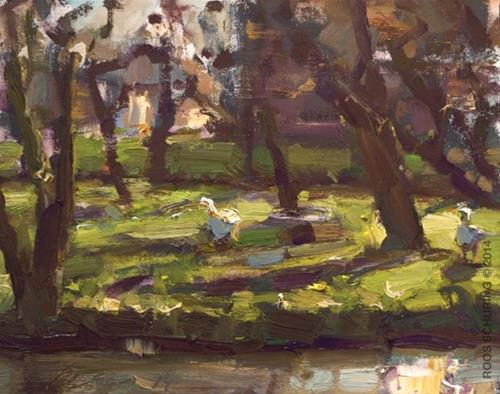 """""""Apple Tree Orchard and geese"""" original fine art by Roos Schuring"""