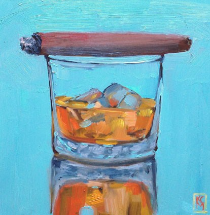 """#4, Someone's Fine Evening, 8x8 Inch Oil Painting of Whiskey by Kelley MacDonald"" original fine art by Kelley MacDonald"