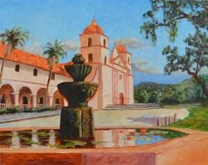 """Reflections of the Santa Barbara Mission"" original fine art by Robert Frankis"