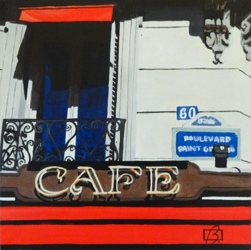 """Cafe Boulevard Saint Germain"" original fine art by Andre Beaulieu"