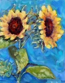 """""""Sunflowers in July"""" original fine art by Maggie Flatley"""