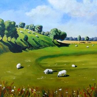 """Summer shadows and sheep"" original fine art by Alix Baker PCAFAS AUA"