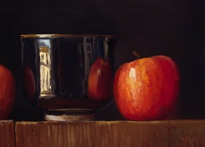 """""""Still Life with Apples and Tea Bowl"""" original fine art by Abbey Ryan"""