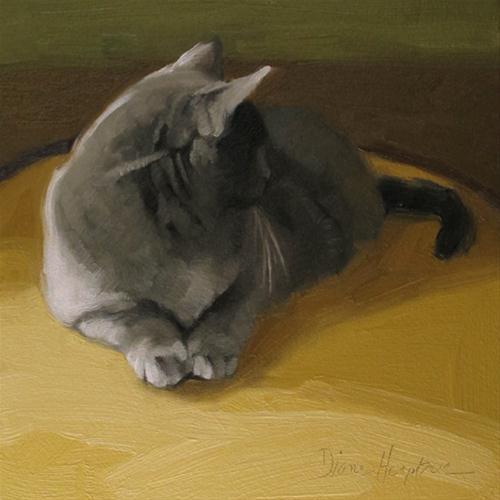 """Distracted II  oil painting cat"" original fine art by Diane Hoeptner"