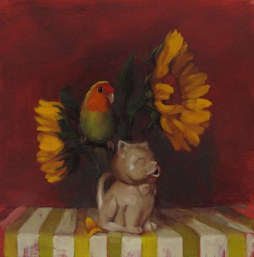 """Bird Lands Floral still life with bird, small painting"" original fine art by Diane Hoeptner"