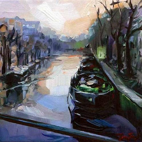"""Morgens in Amsterdam"" original fine art by Jurij Frey"