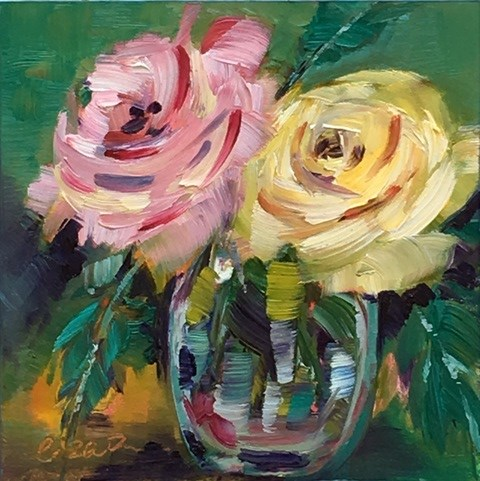 """Pair of Roses"" original fine art by Lisa Fu"