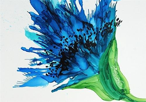 """Blue Poppy III, 5 x 7 Alcohol Ink, Floral"" original fine art by Donna Pierce-Clark"