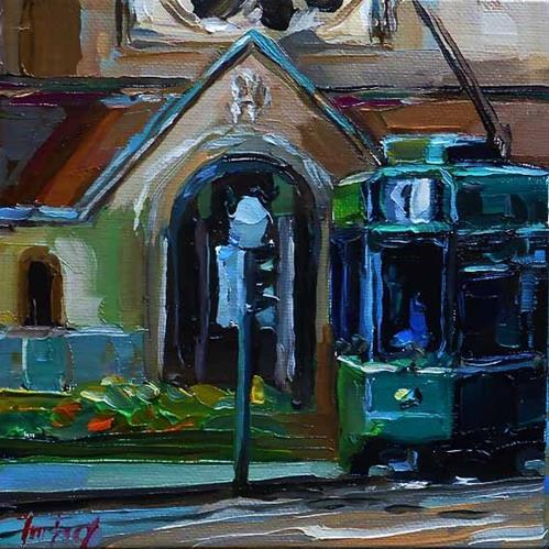 """""""streets of Basel"""" original fine art by Jurij Frey"""