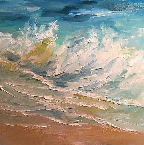 """Wave Study 8, 6 x 6,  Oil, Seascape"" original fine art by Donna Pierce-Clark"