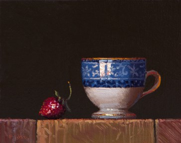 """""""Still Life with Strawberry and Wedgewood Cup (Red, White, & Blue)"""" original fine art by Abbey Ryan"""