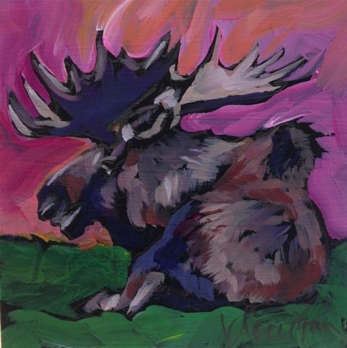 """""""Well-Lit Moose"""" original fine art by Kat Corrigan"""