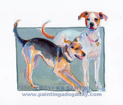 """Gypsy and Maisie, A Painted Sketch"" original fine art by Kimberly Santini"