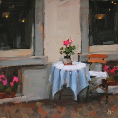 """Table For One"" original fine art by Carol Marine"