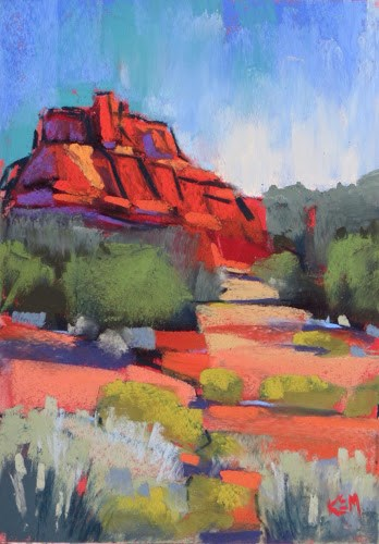 """Sedona By Day....Painting on the Deck with my New Terry Ludwigs"" original fine art by Karen Margulis"